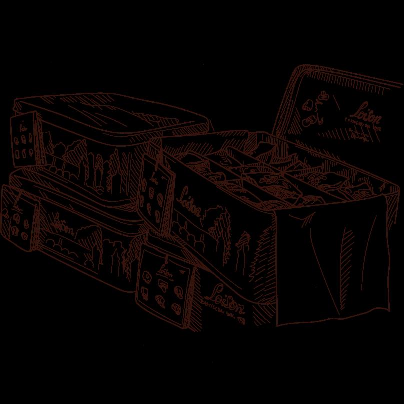 scatole latta Loison per esposizone